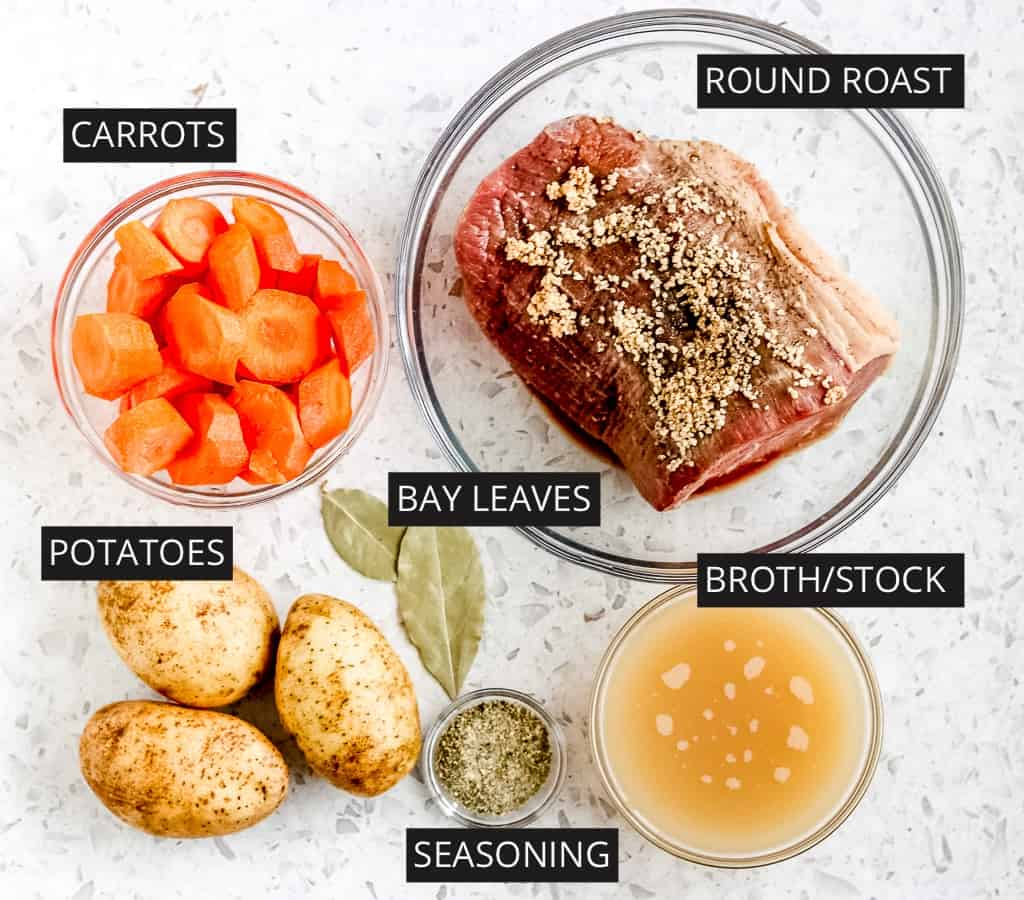 Picture of ingredients to make Instant Pot Round Roast Recipe.