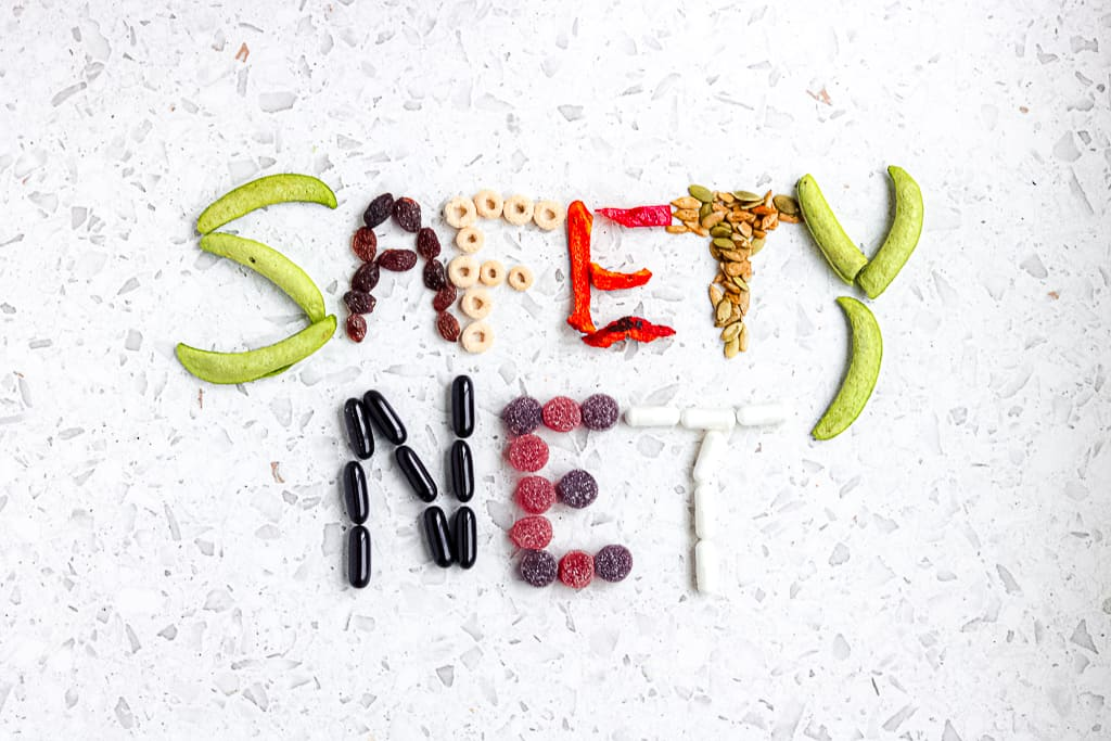 Picture of food spelling out supplement safety net.