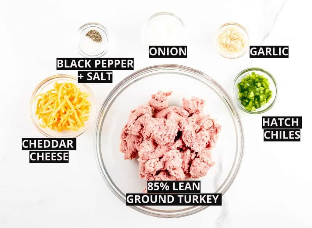 Ingredients for air fryer turkey burgers.