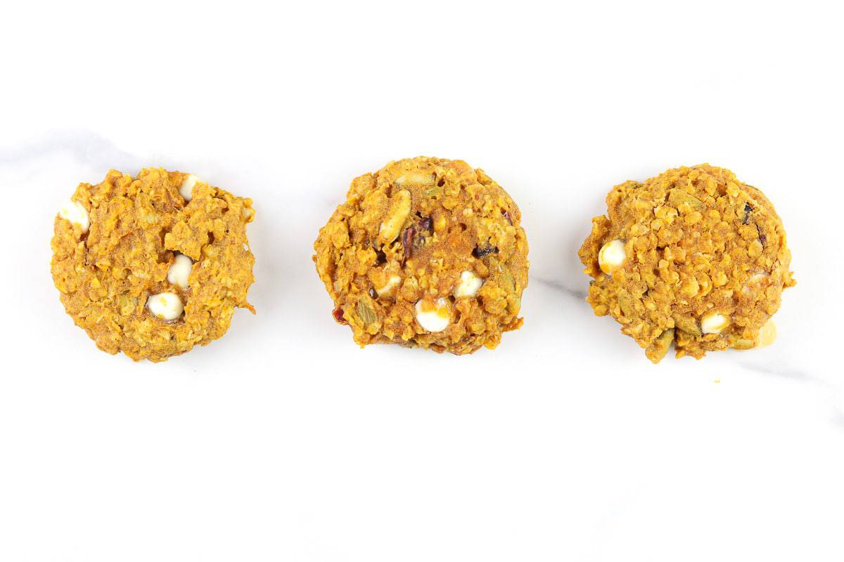 Image of 3 breakfast pumpkin cookies in a row.