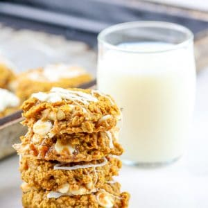 Image of pumpkin breakfast cookies with milk.