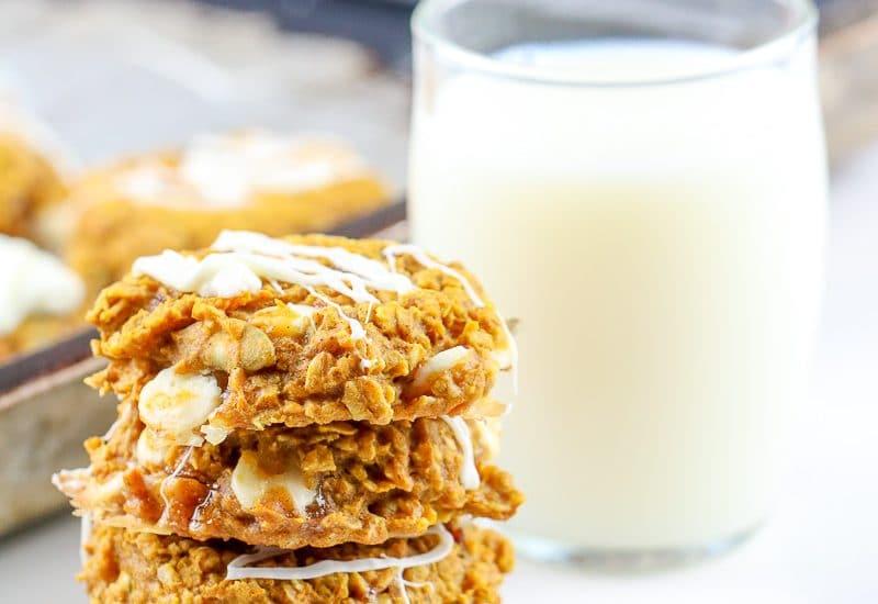 Image of pumpkin breakfast cookies with milk.