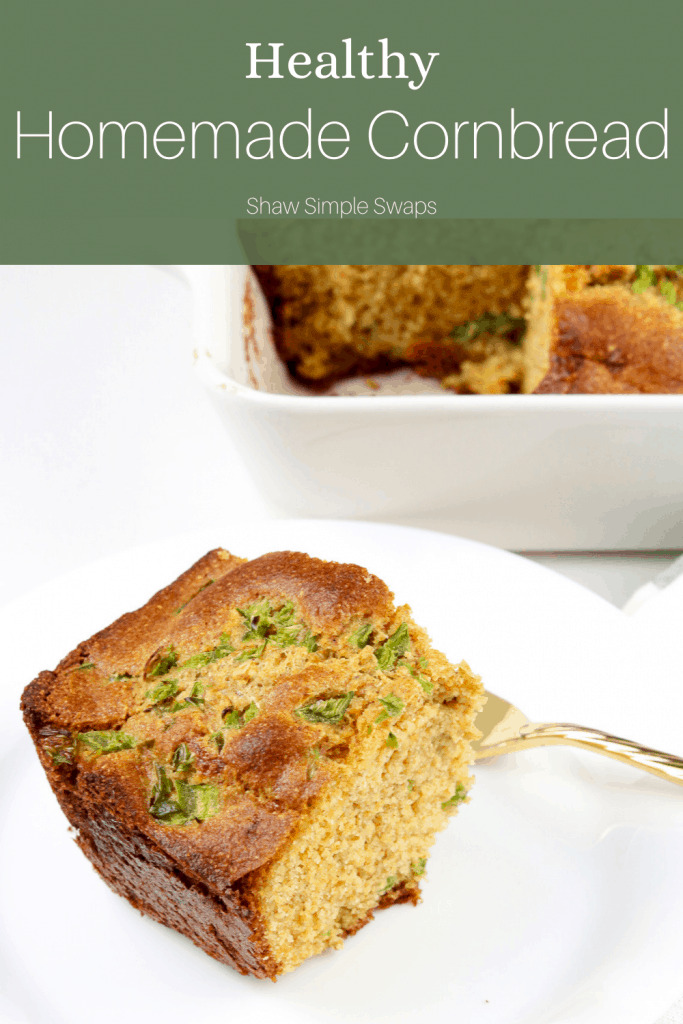 Pinable image of healthy cornbread recipe.