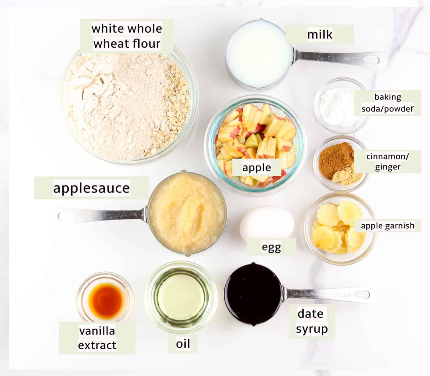 Image of ingredients to make applesauce muffins.