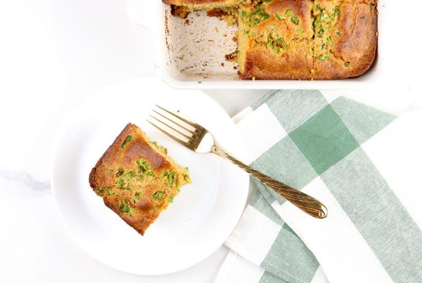 Image of hatch chile healthy cornbread cut into a square.