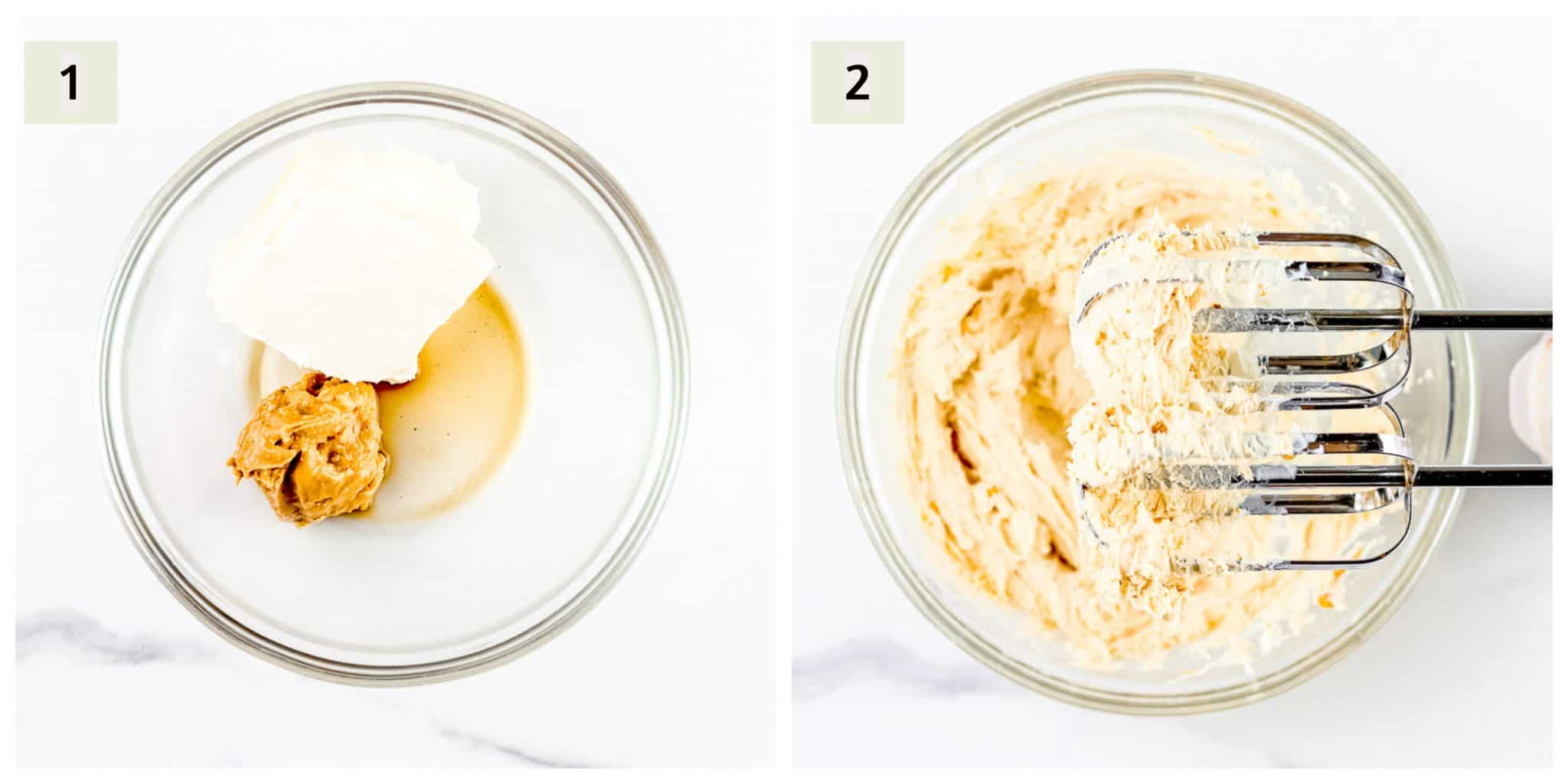 Process shots to make peanut butter cream cheese for mini bagels.