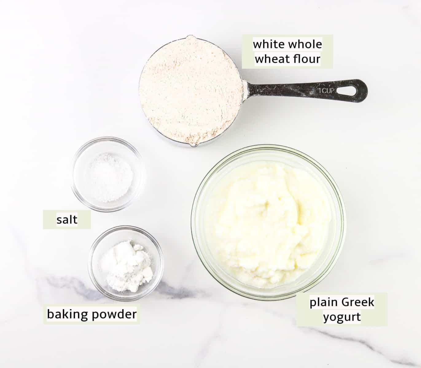 Image of ingredients for mini bagel recipe.