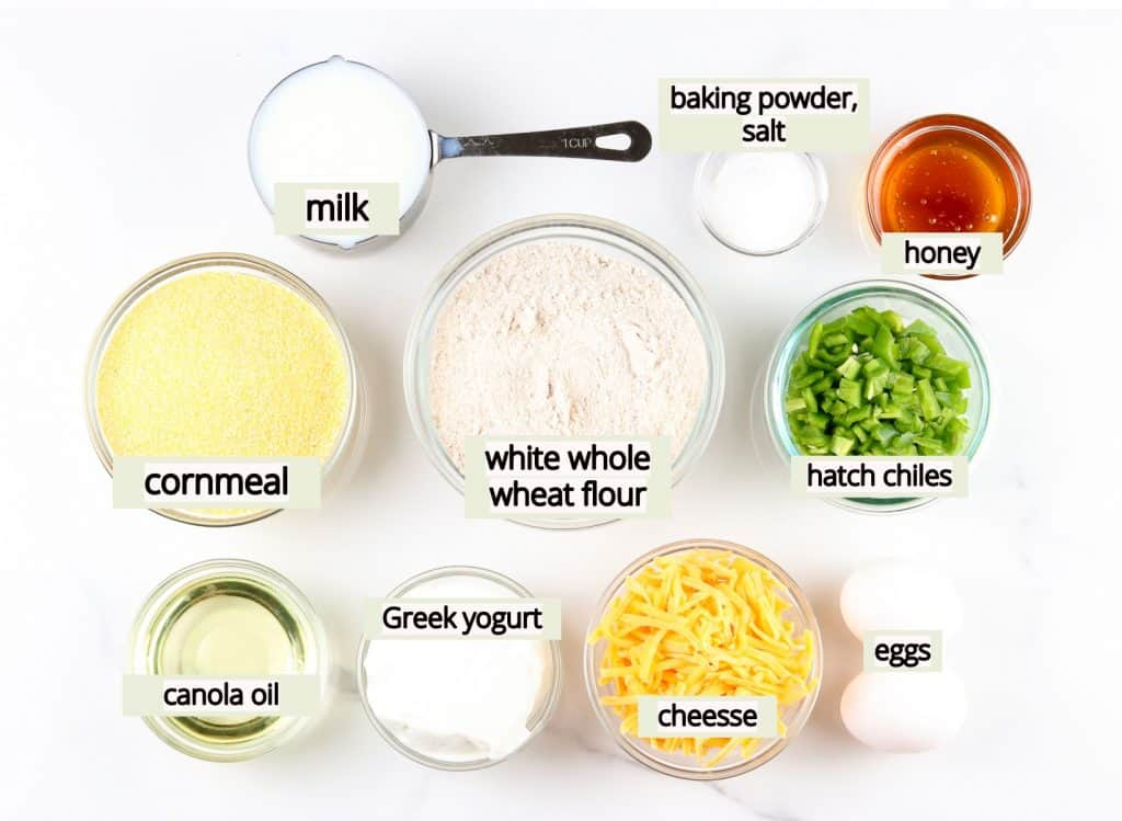 Image of ingredients needed to make healthy cornbread from scratch.