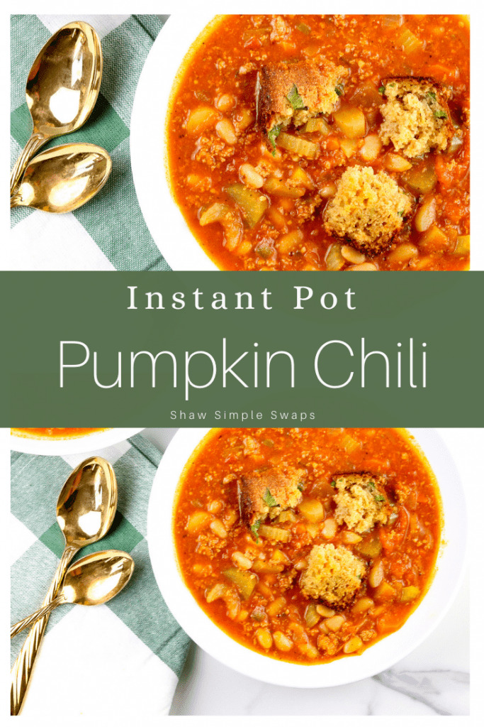Pinable image of instant pot chili.