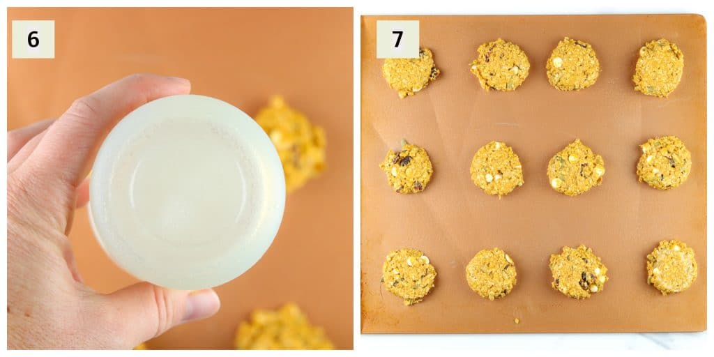 Process shots for mixing and placing cookie dough on sheet.