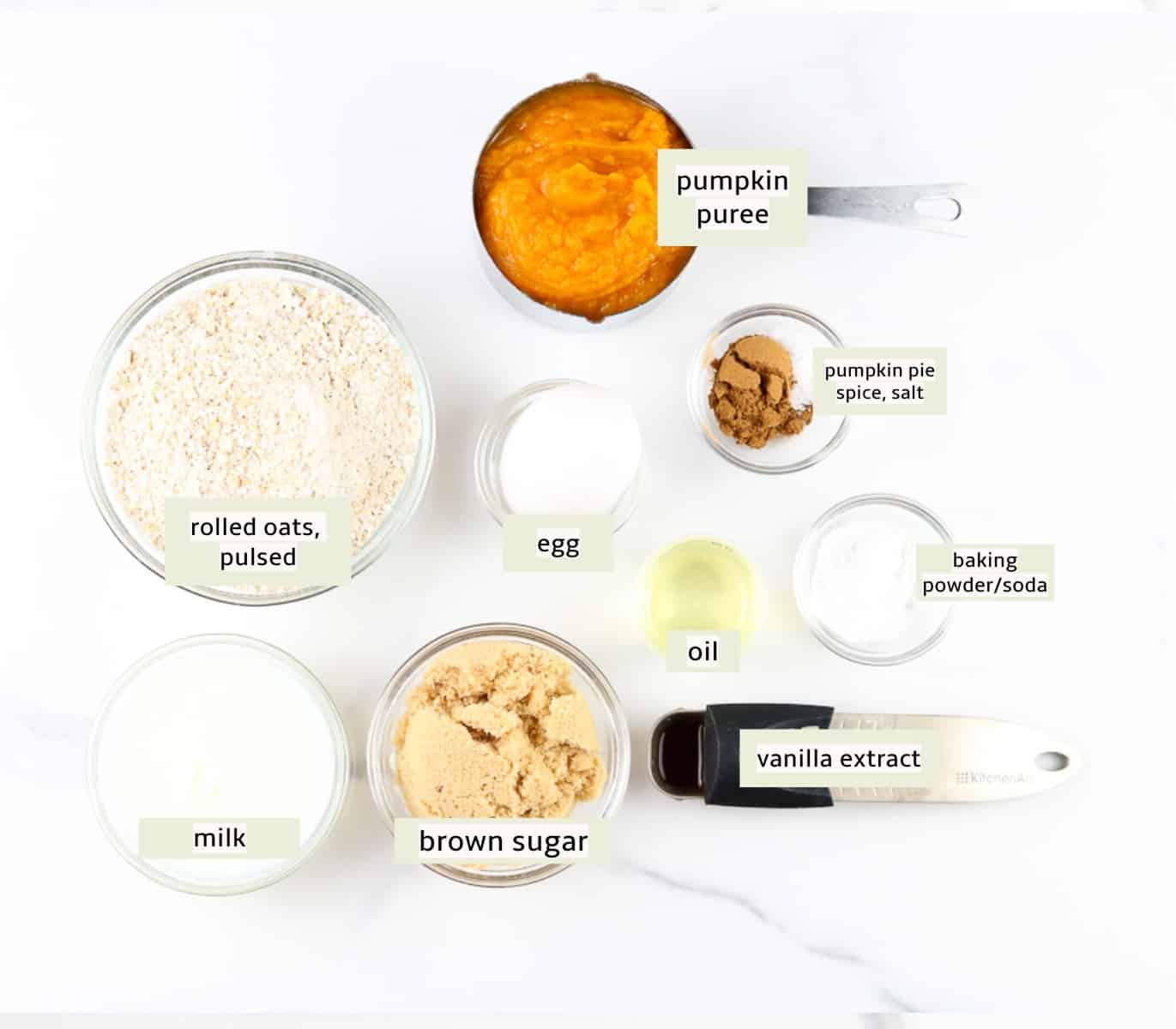 Image of ingredients to make muffins with pumpkin.