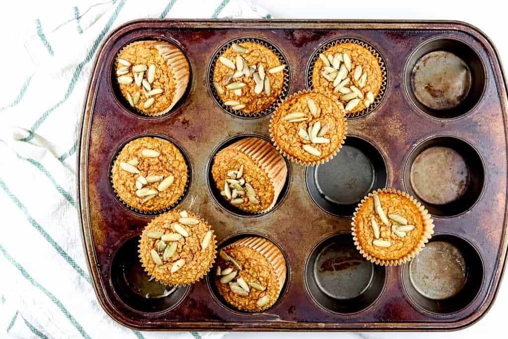 Image of pumpkin muffins styled.
