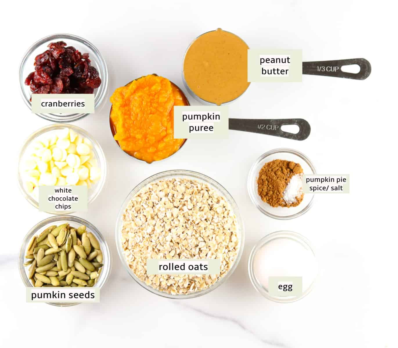 Ingredient shot of pumpkin breakfast cookies ingredients.