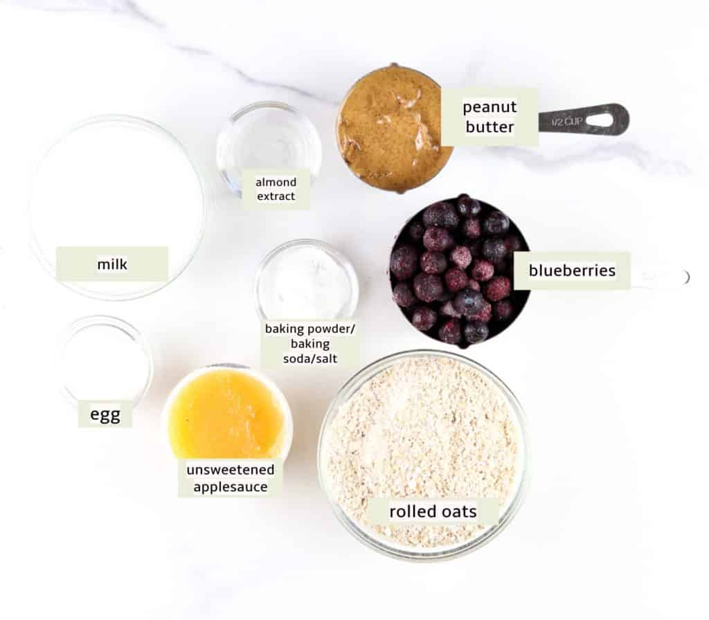Image of ingredients labeled needed to make blueberry muffins.
