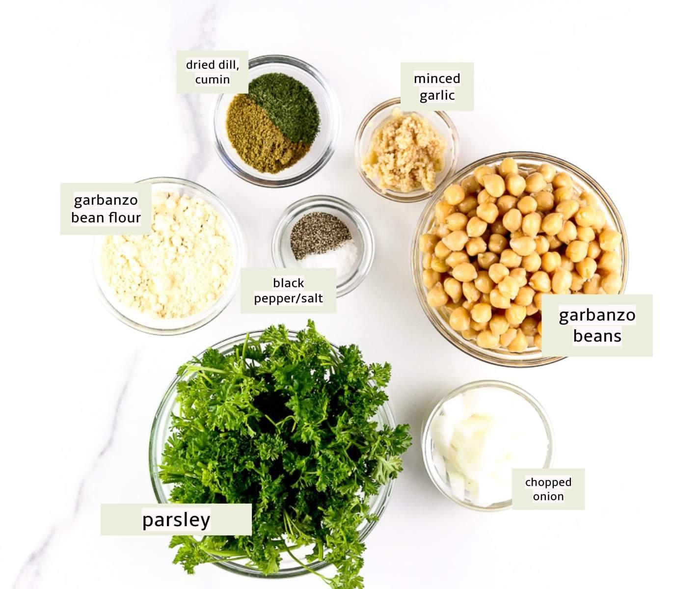 Image of ingredients for air fryer falafel.