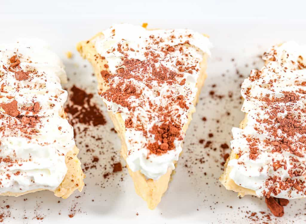 Image of plated cheesecake with 3 slices.