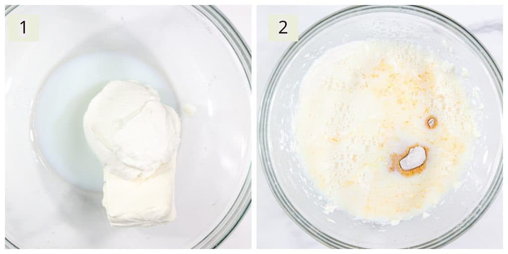 Prep steps for making cheesecake.