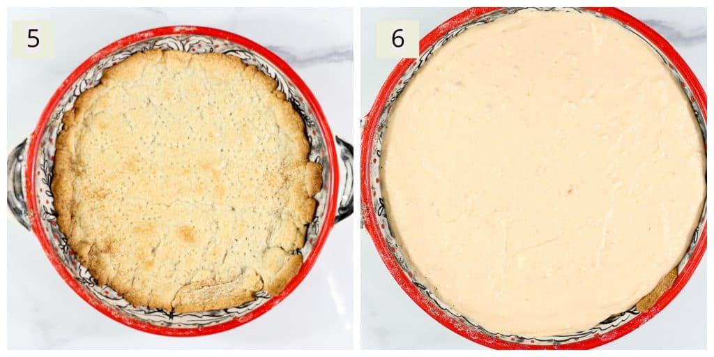 Prep steps for making no bake cheesecake.