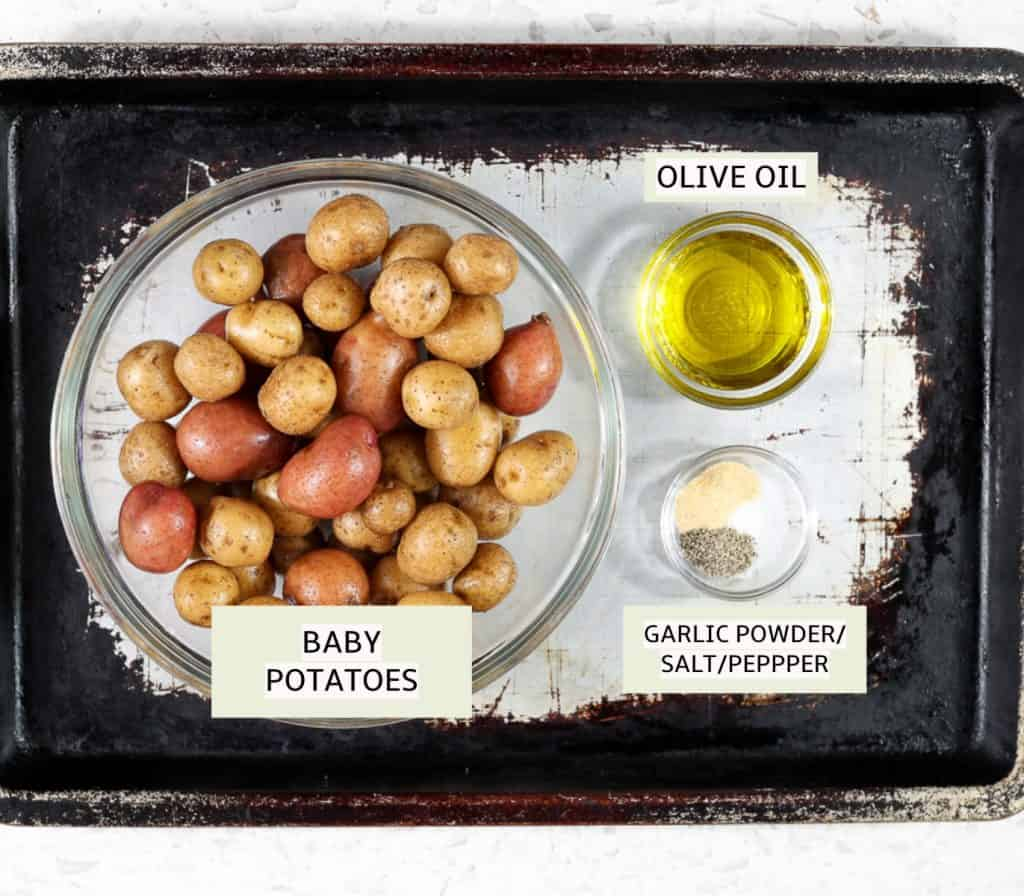 Ingredients for baby potatoes.