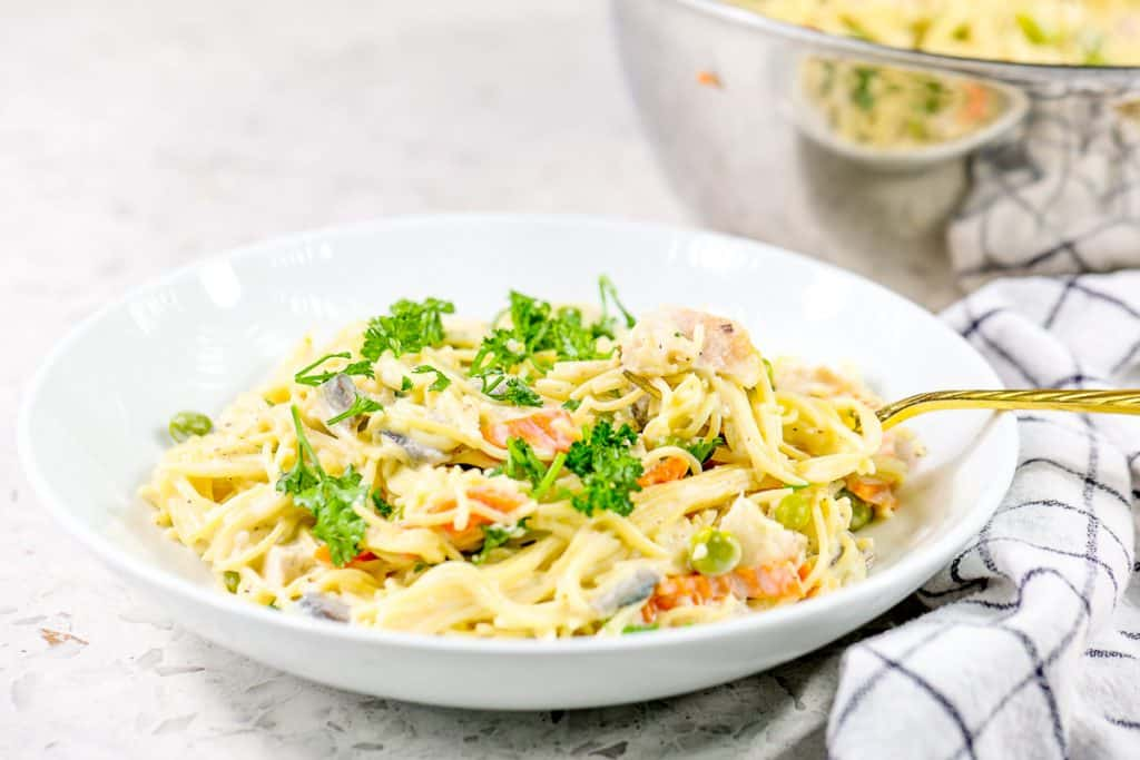 Bowl of Healthy Turkey Tetrazzini .