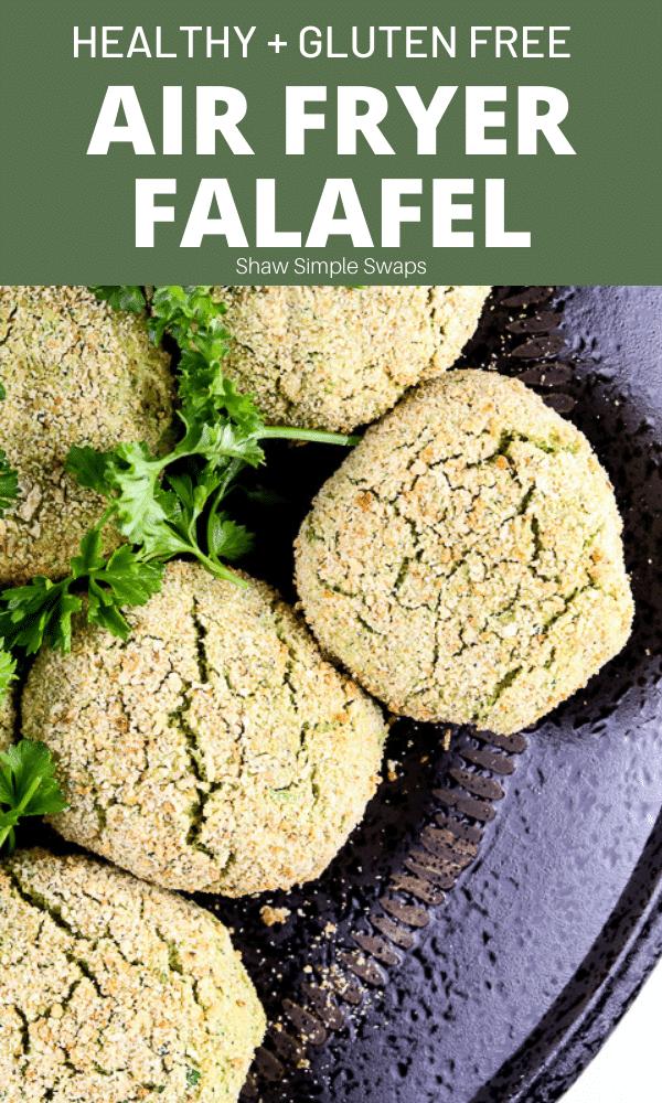 Pinable image of air fryer falafel.