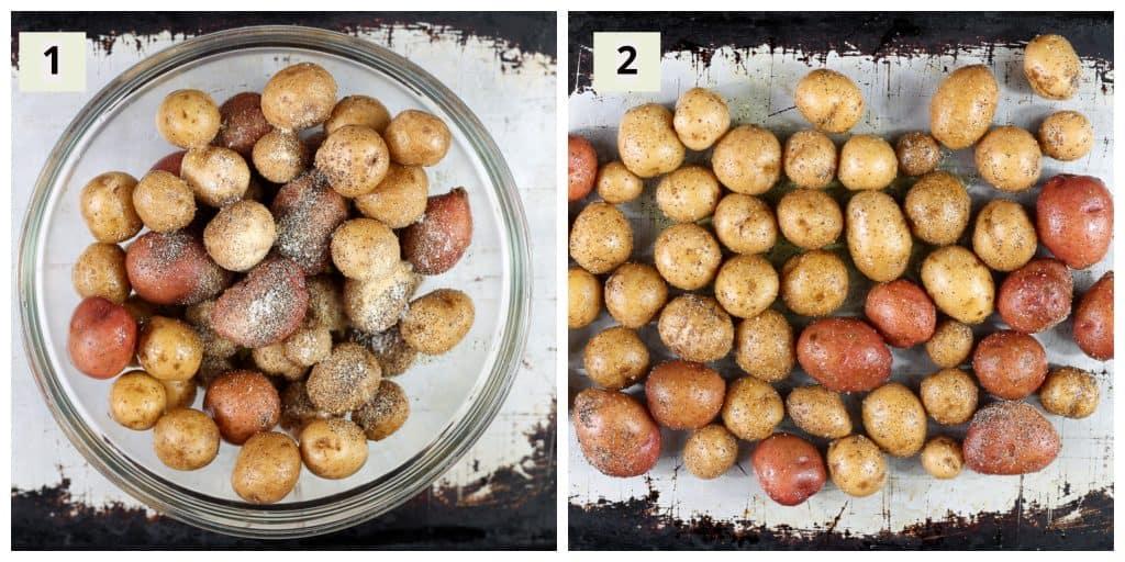 Prep steps to make potatoes.