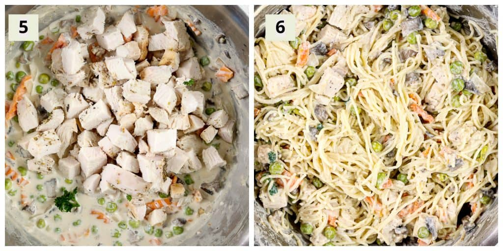 Process shots for Simple Healthy Turkey Tetrazzini .