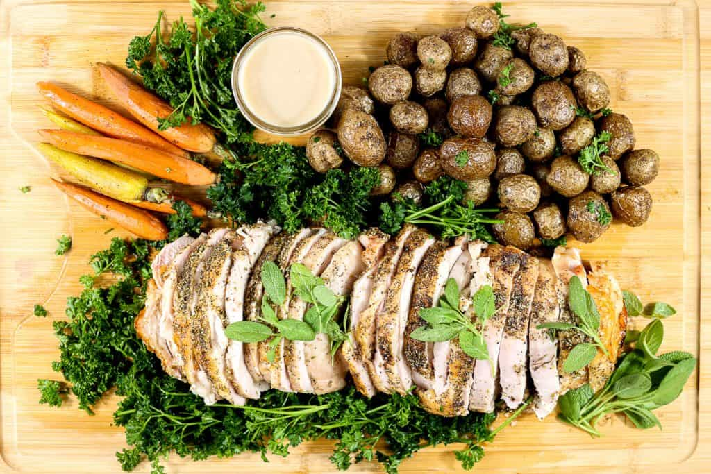 Plated image of boneless turkey roast recipe.