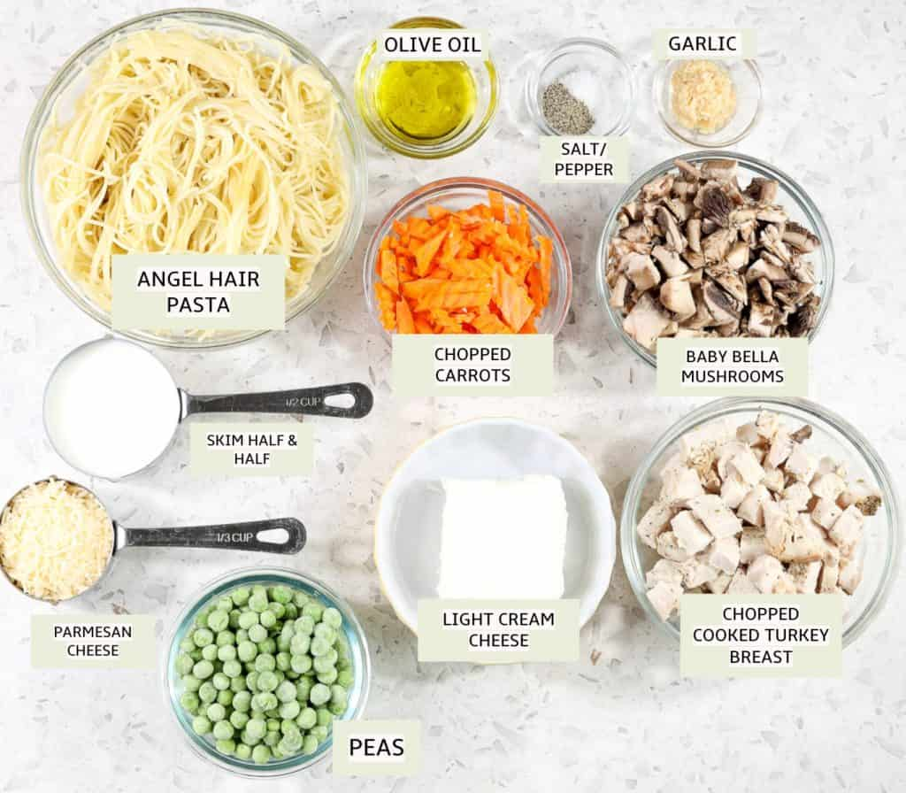 Ingredients for Healthy Turkey Tetrazzini.