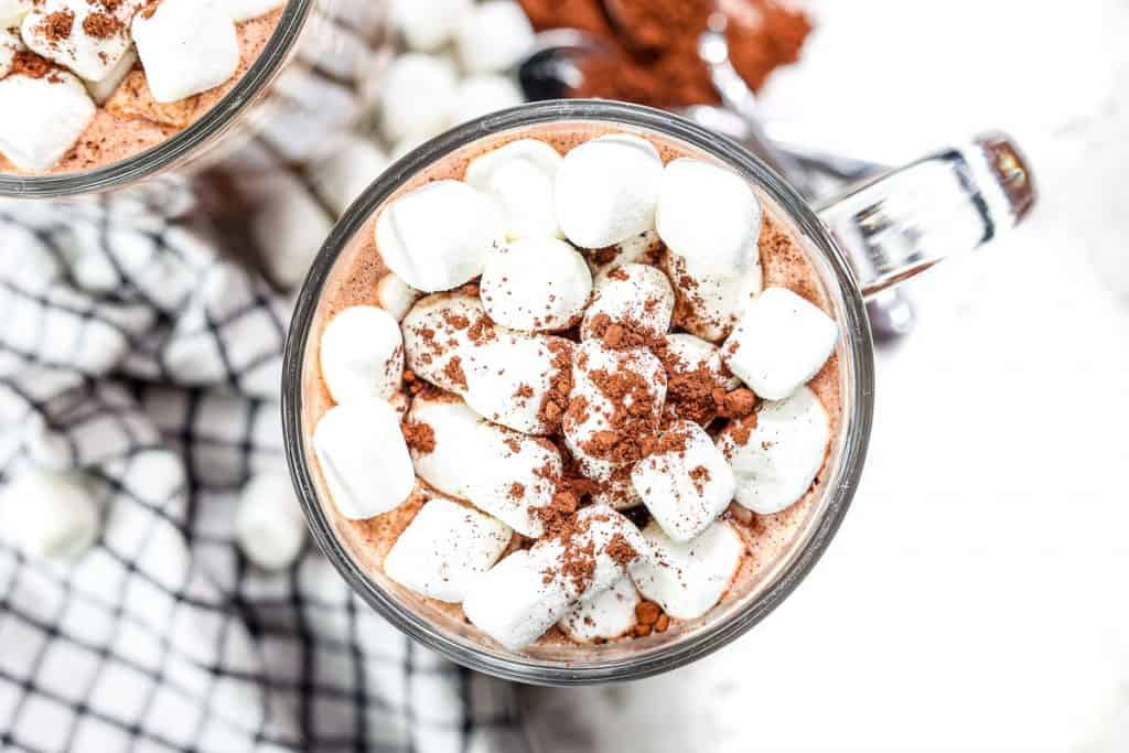 Cup of hot chocolate with mini marshmallows.