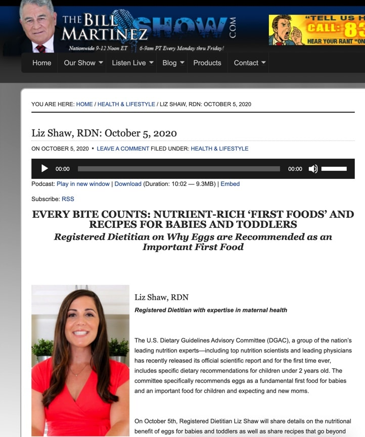 Screenshot image of Liz Shaw headshot on online website for national radio host with white background, black text, and header.