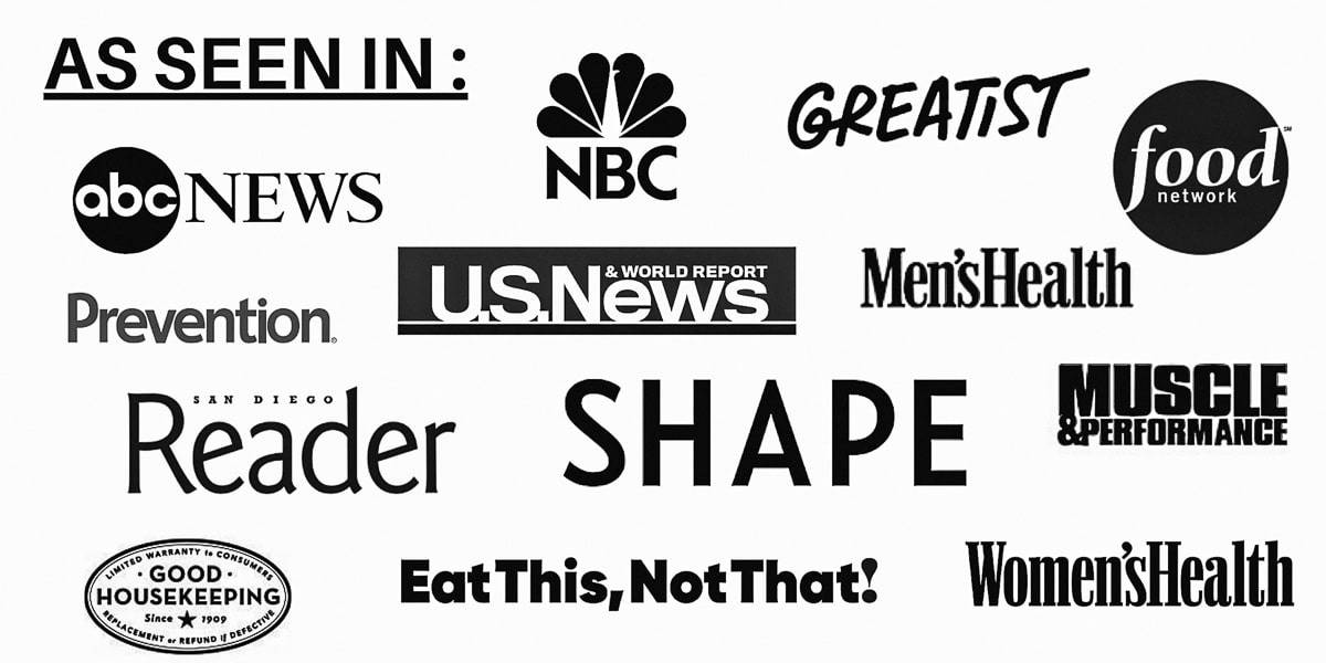 A graphic collage of national media outlets Registered Dietitian Liz Shaw has been featured in.