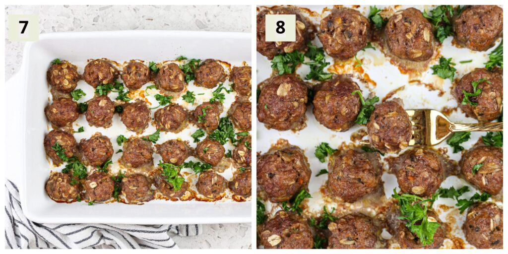 Two picture collage featuring white casserole dish with beef meatballs cooked and green parsley on top.