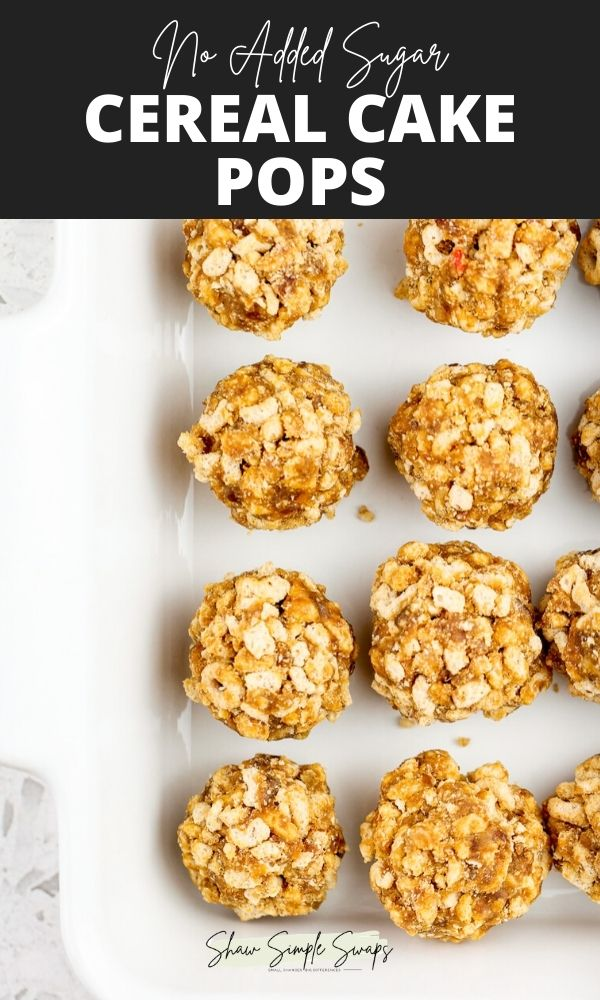 Pinterest image with black text on top with white text overlay with light brown cereal cake pops in a white square cake pan.