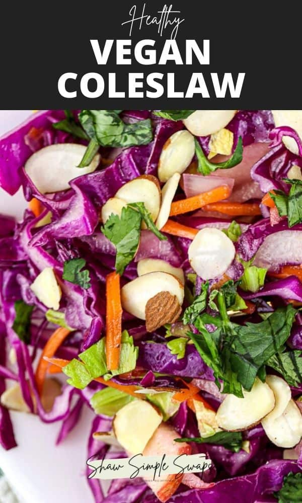 Pinterest template with black text box and white overlay with plate of purple cabbage slaw with sliced almonds and cilantro.
