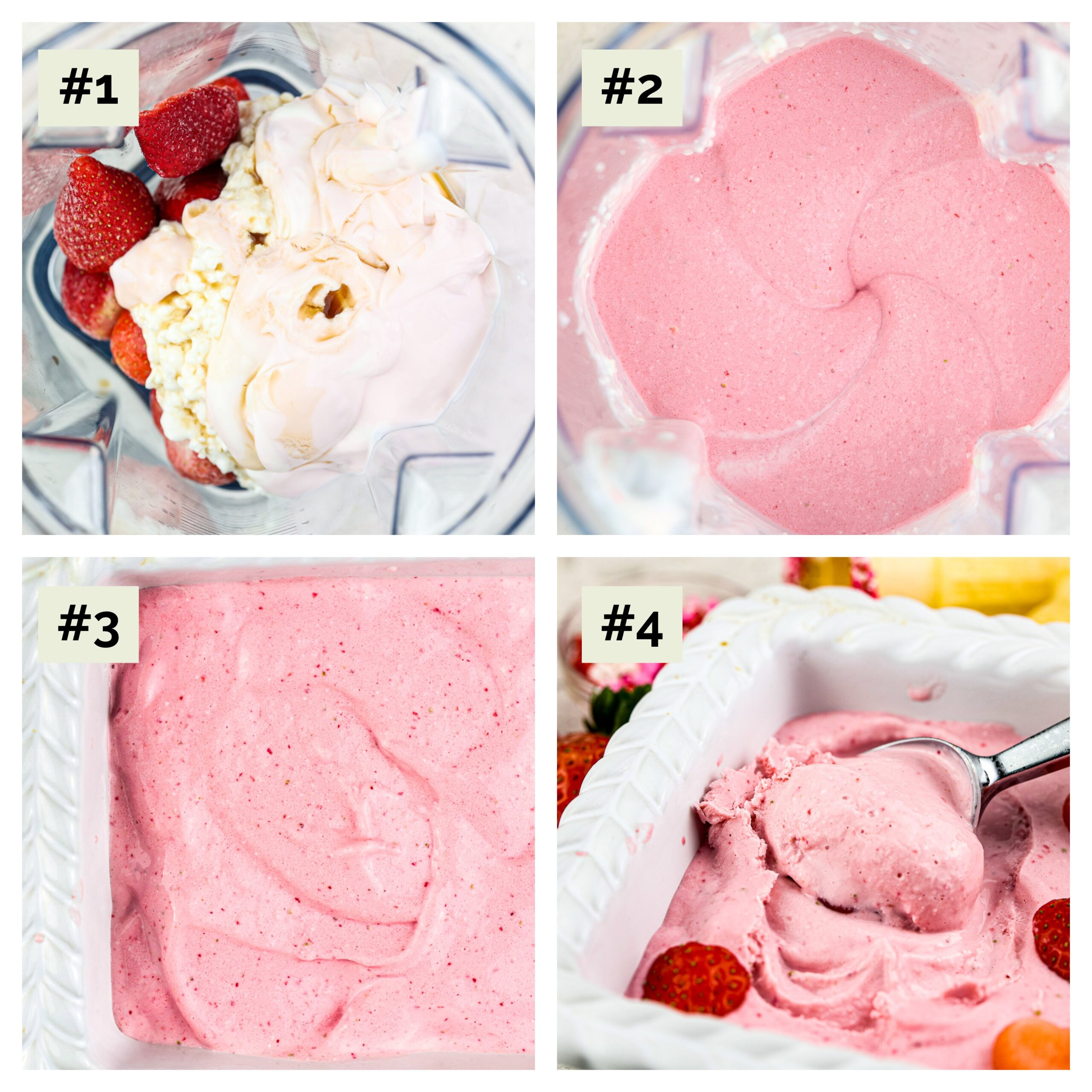 Four picture collage with stages of making Strawberry Nice Cream in a blender.