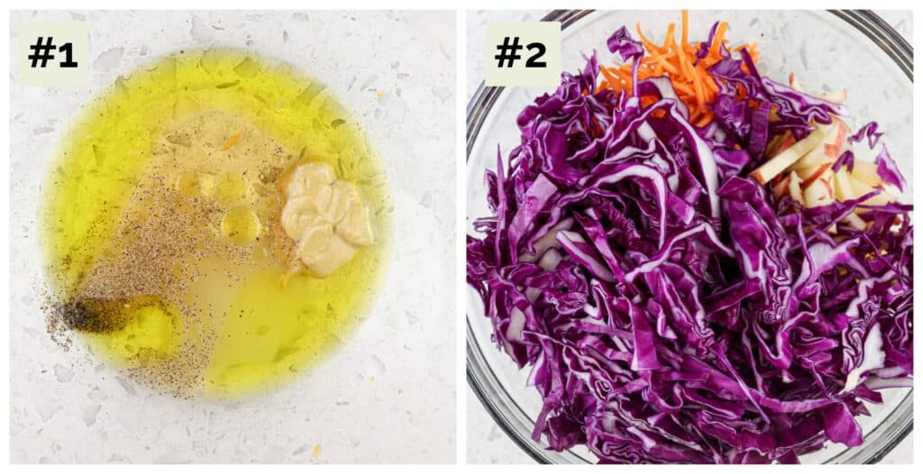 Two picture collage with first being vinegar and oil in a glass bowl that appears yellow, the second being the glass bowl with cabbage sliced and carrots.