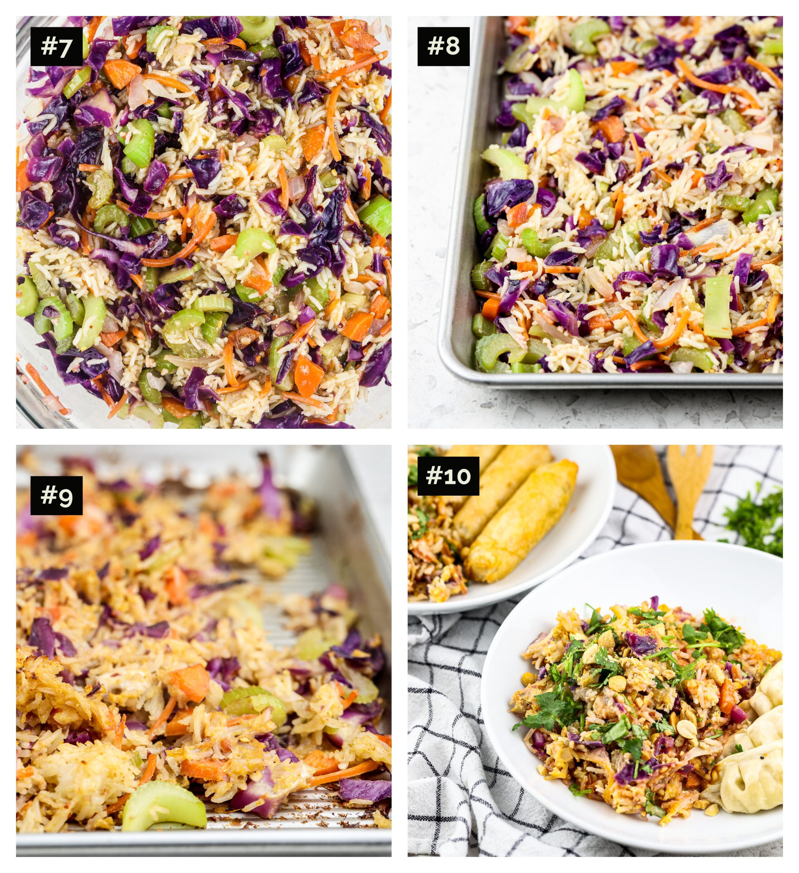 Four picture collage with the top two mixed colorful veggies with eggs and rice, the bottom the cooked fried rice on a sheet pan then in a bowl.