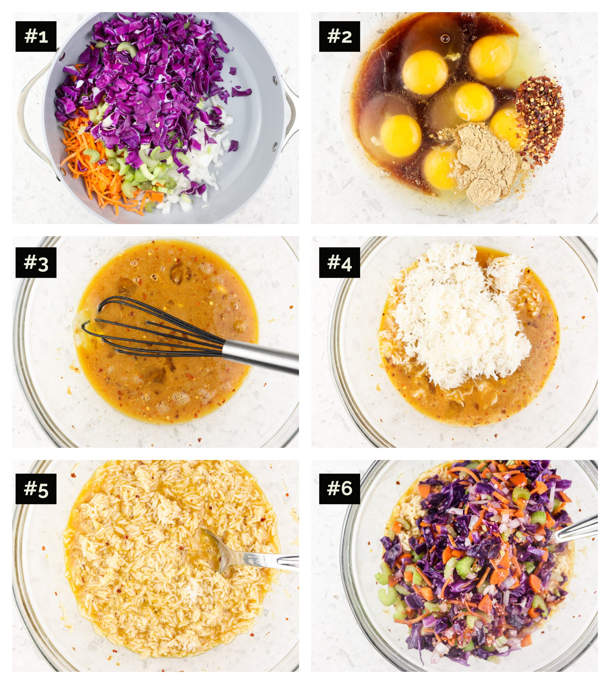 Six image collage with the first being a saute pan with colorful veggies, the second and third eggs whisked with soy sauce, then a glass bowl with rice and the brown egg mixture and finally the cooked veggies in a grey saute pan.