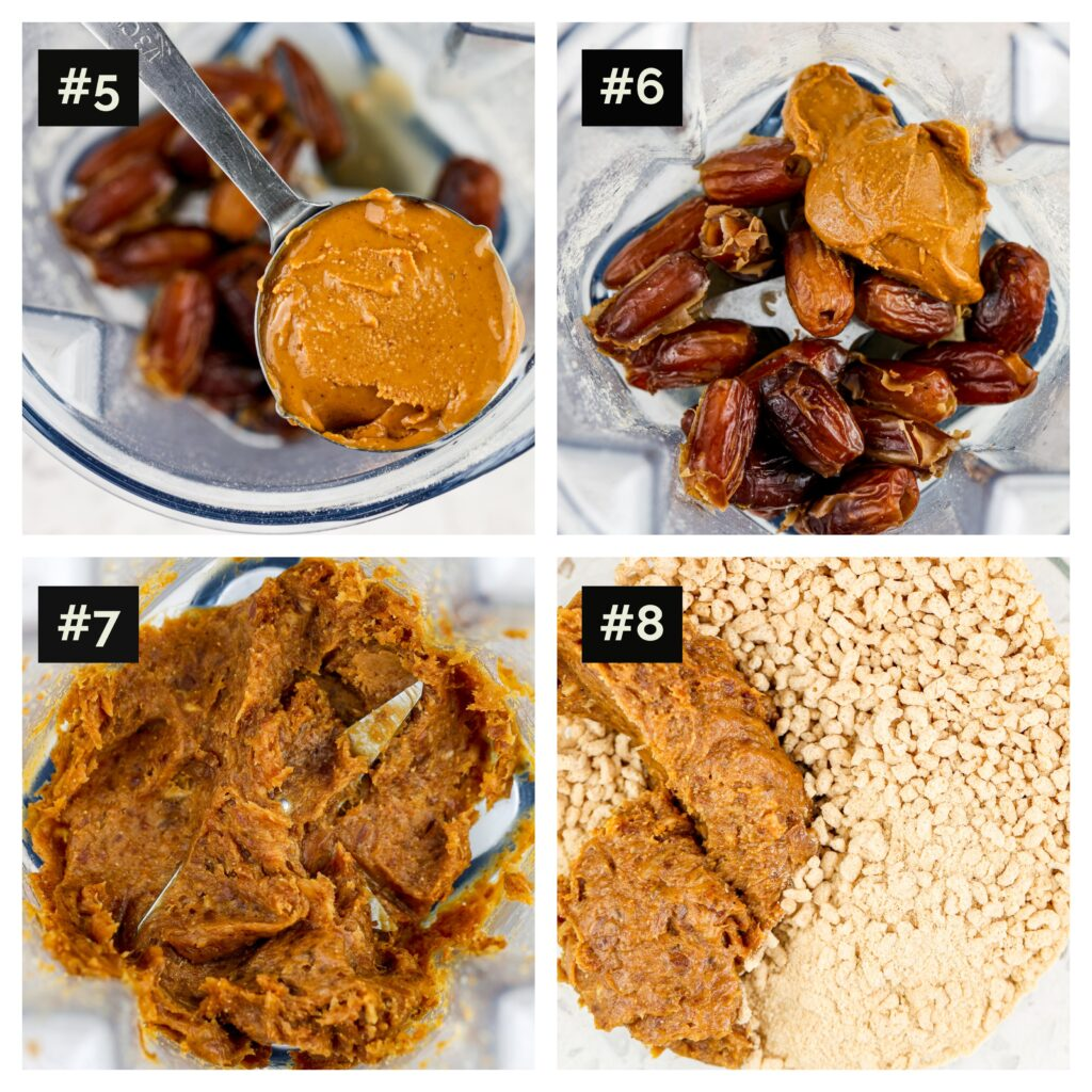Four picture collage, including dates with nut butter in a blender, then pulsed, then combined in a glass bowl with pulsed cheerios.