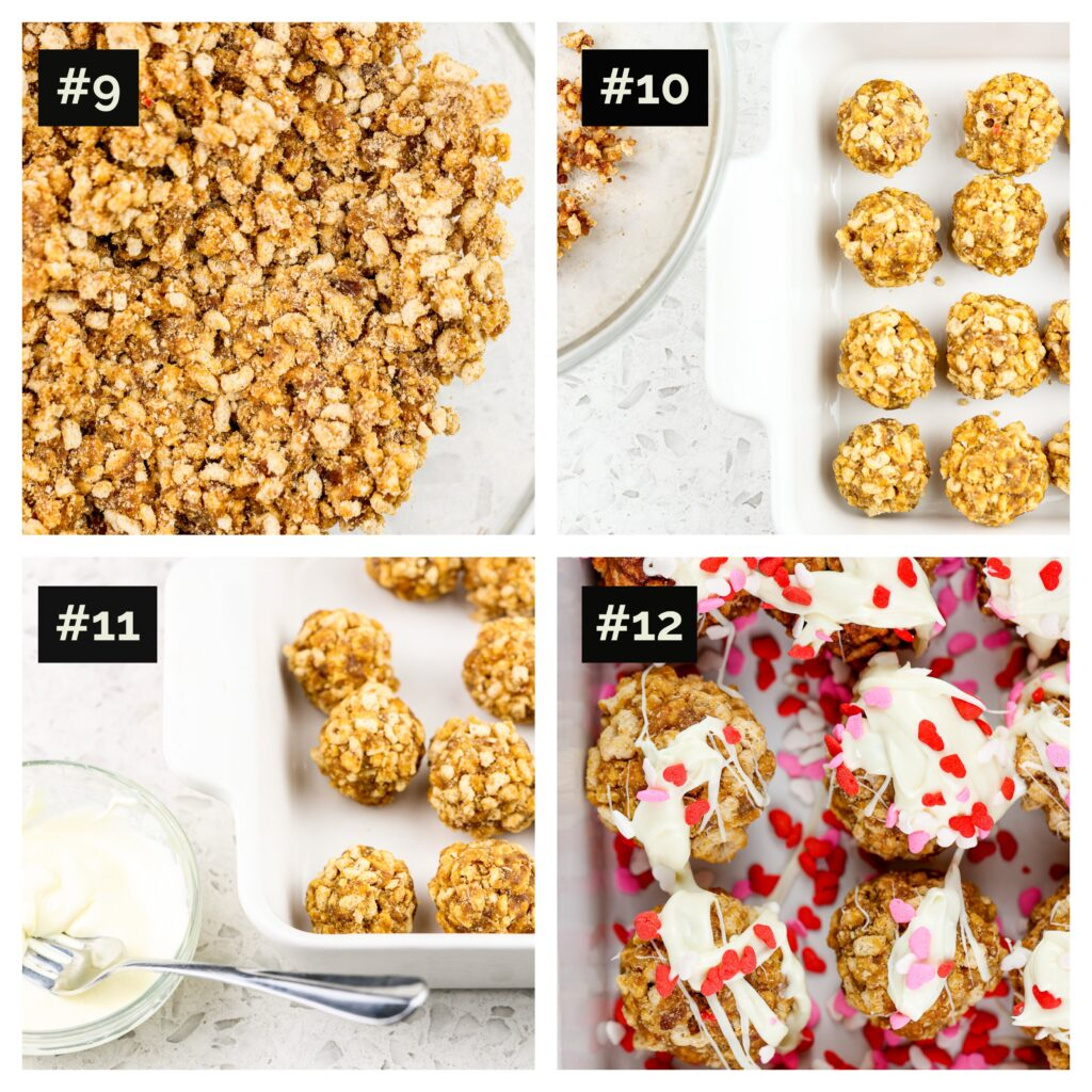 "Four picture collage with final steps to make cereal cake pops, including cereal ""dough"" rolled into balls then covered with white chocolate and sprinkles."