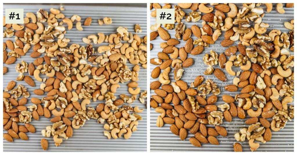 Two side by side images of nuts on baking sheets.