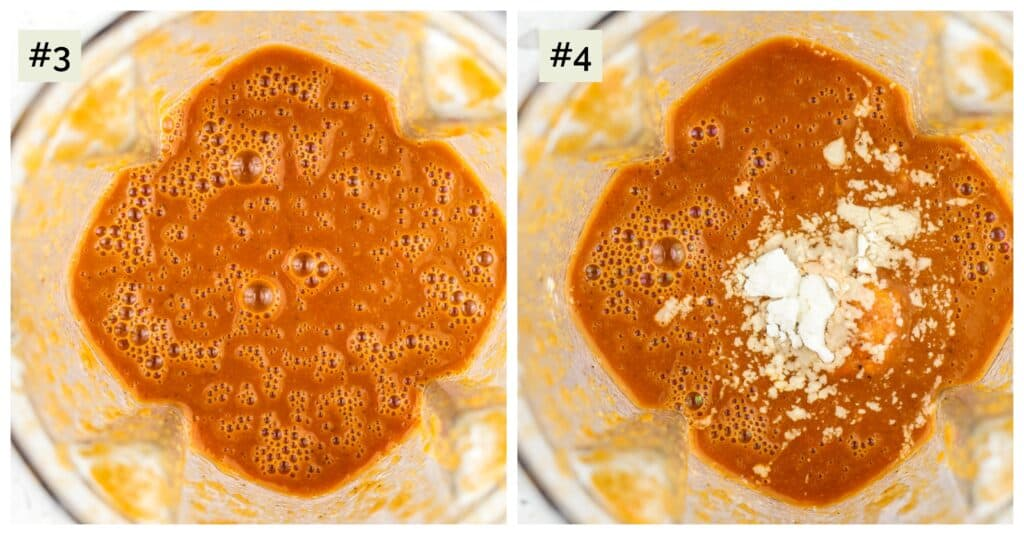 Two picture collage of red sauce in blender.
