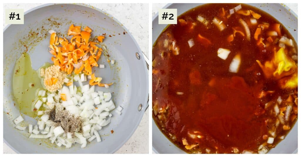 Two picture collage with first image of veggies in silver saute pan, the second image of red sauce simmering in silver pan.