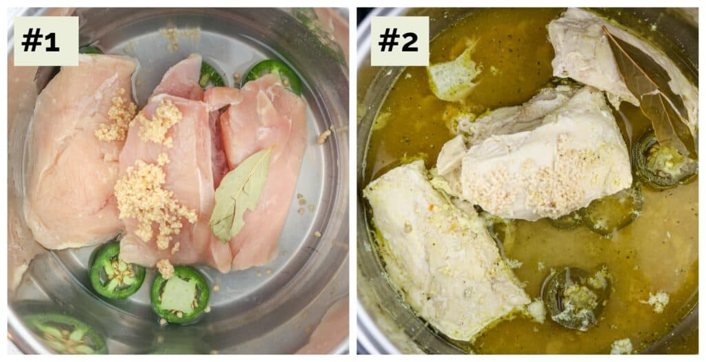 Two image collage with first being raw chicken, broth and herbs in the metal instant pot base; the second being the cooked chicken in the pot.