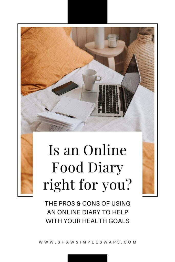 "Silver and Black lap top on white bed with an empty white coffee mug on top of lap top. Open journal to the right of lap top. Orange pillows and comforter on the bed. Pinterest image format with black writing on top, reading ""Is an online food diary right for you?"""