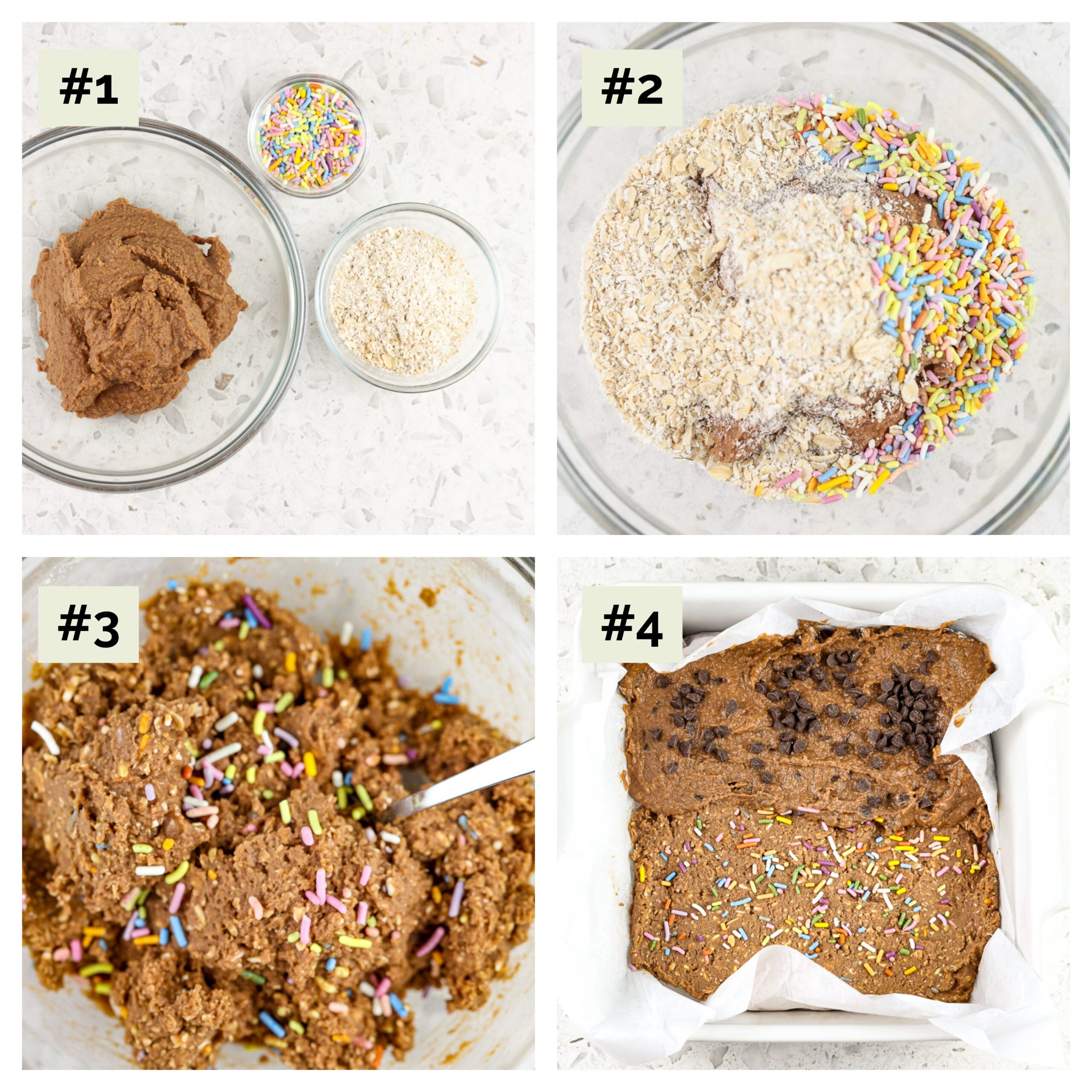 Four image collage with process shots. First image is three glass bowls filled with cocoa powder, sprinkles and oat flour. The second and third are the ingredients mixed together, and the fourth is the dough pushed down into a white baking dish.