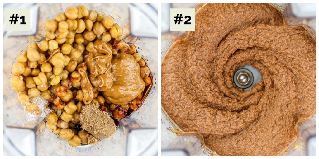 Two image collage with process shots to make chickpea cookie dough. Image 1 is a blender with chickpeas, nut butter, and date syrup, image 2 is the pureed ingredients together in the blender. It is a medium brown color.