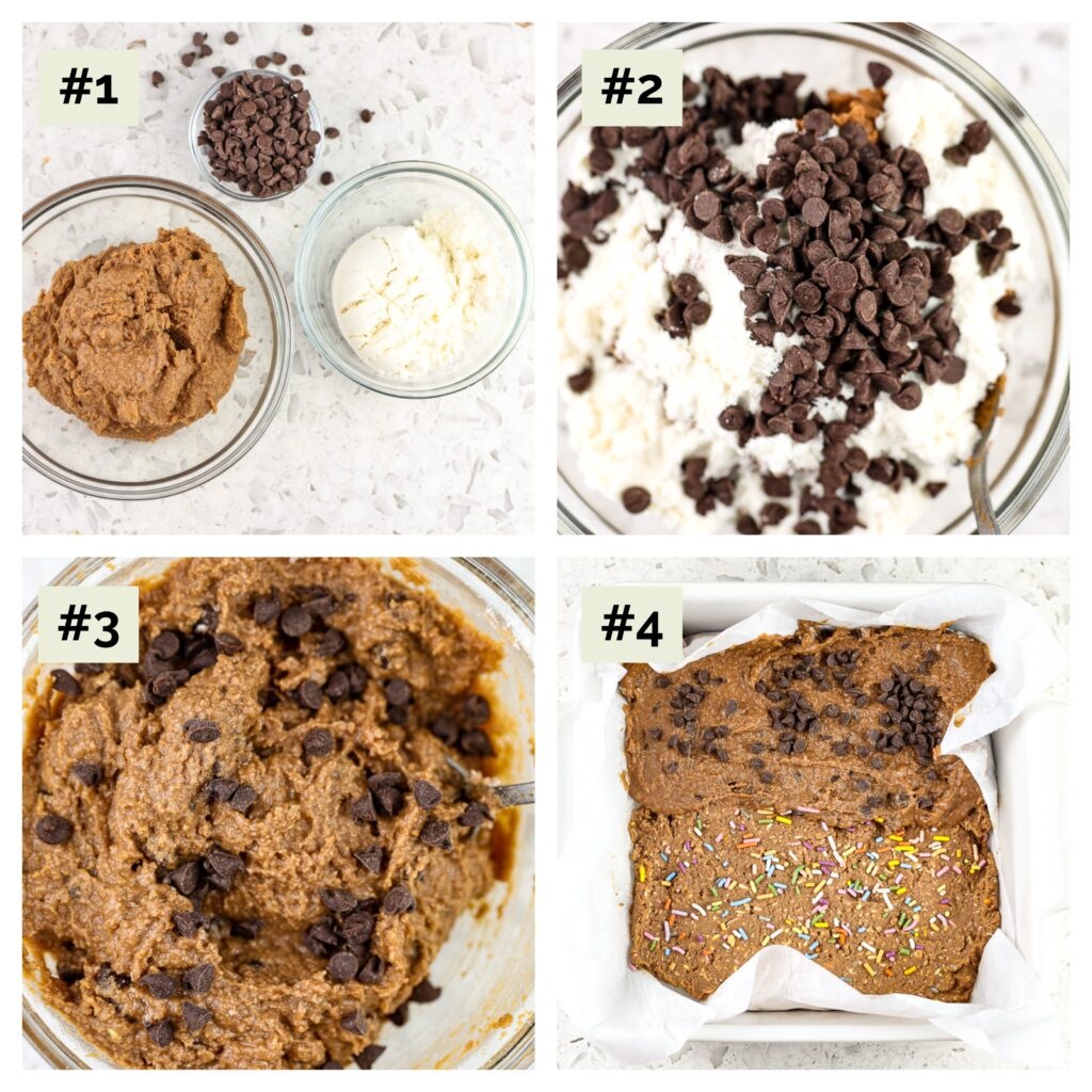 Four image collage with process shots. First image is three glass bowls filled with cocoa powder, chocolate chips and whey protein. The second and third are the ingredients mixed together, and the fourth is the dough pushed down into a white baking dish.