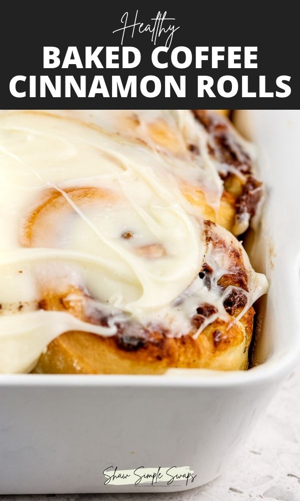 Pinterest image with black and white text overlay on the top with frosted white cinnamon rolls in a white casserole dish on the bottom.